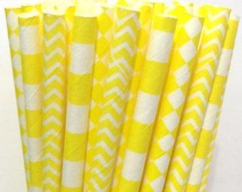 2.85 US Shipping -Yellow Paper Straws - Cake Pop Sticks - Drinking Straws - Chevron Diamond Stripe Straws