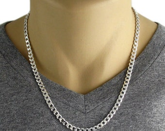 "Men's 925 Sterling Silver Cuban Curb Link Chain Necklace - 150 Gauge 6 mm - 20""/22""/24""/26"""