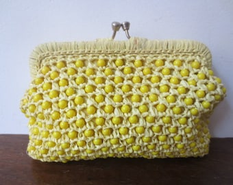 Vintage '50s Canary Yellow Beaded Straw Kiss Lock Clutch w/ Adorable Floral Cotton Lining
