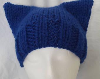Blue wave pussyhat, chunky knit pussyhat, Democratic winter hat, 2018 midterm elections, blue wave 2018, women's march, resist, anti Trump