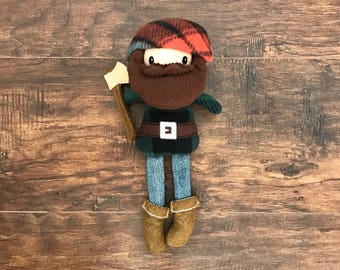 Lumberjack Doll for Boys, Lumberjack Stuffed Animal, Lumberjack Nursery Decor, Woodland Themed Nursery, Stuffed Lumberjack