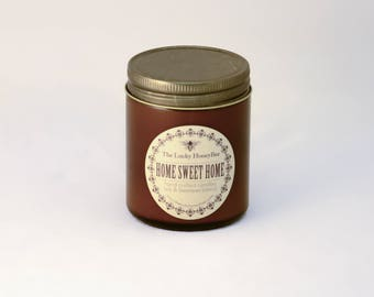 Home Sweet Home Candle || 8.5 oz Scented Candle || Soy + Beeswax Blend Candle in Amber Jar