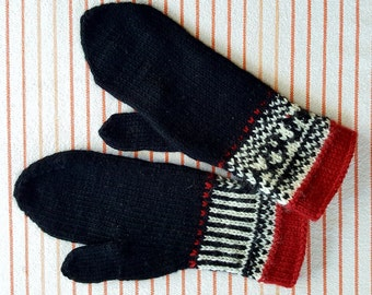 Charming Black, Red and White Mittens
