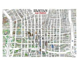 Vintage Los Angeles Map CA Print HandDrawn LA California