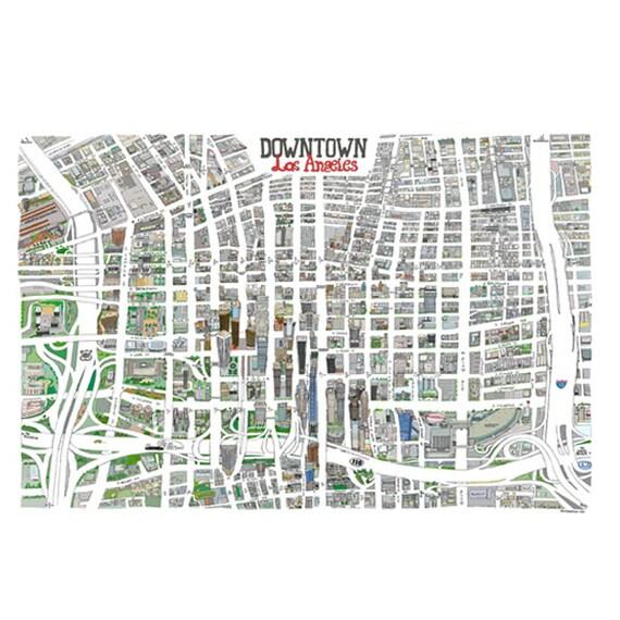 Downtown Los Angeles LA HandDrawn Map Print California Art