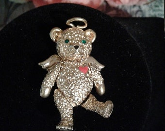 Weekend 10% Off Vintage Satya Golden Articulated Angel Teddy Bear Brooch Pin or Pendant for a Necklace