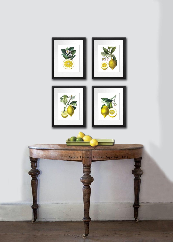 Kitchen decor lemons print kitchen art fruit print citrus - Kitchen curtains with fruit design ...