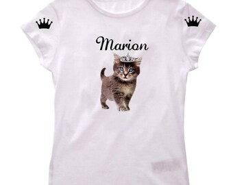 T-shirt girl kitten with Crown personalized with name