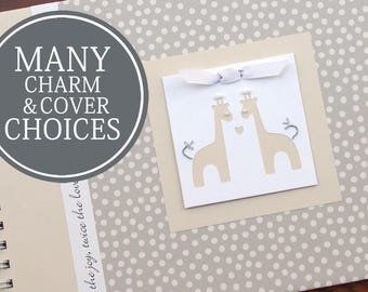 TWIN Pregnancy Journal | Pregnancy Gift for Twins | Personalized Pregnancy Scrapbook for Twins | Small Cream Dots with Twin Giraffes