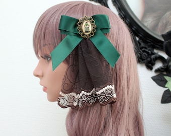 Hair clip brooch; Steampunk lace