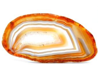 Banded Agate Slice Druzy Stone (78mm x 40mm x 3mm) - Orange Agate - Agate Slice Geode - Brazilian Agate