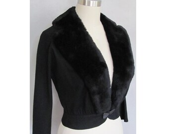 Vintage 1950s Fur Collar Jacket / Evening or Cocktail Black Faux Fur 50s Hourglass New Look / Party Rockabilly Pin Up Viva Las Vegas / Small