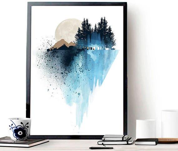 Nature Wall Decor: Blue Mountain Wall Art Art Print Watercolor Poster Nature