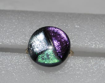 Dichroic Glass Cabochon Ring
