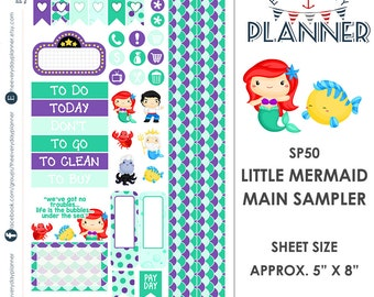 Little Mermaid Sampler Kit | Over 30+ Kiss-Cut Stickers | Erin Condren and Mambi  | Disney Inspired   SP050