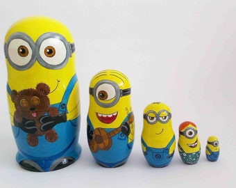 "Hand-painting nesting dolls ""Minions"".Height 15 cm.  Wooden nesting dolls"
