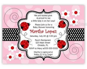 Another Pink and Red Ladybug Baby Shower Invitation (You Print)
