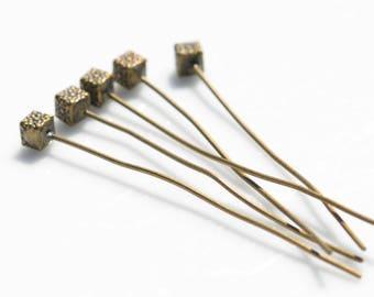 50 Antique Bronze 5.3cmmm Head Pins F544