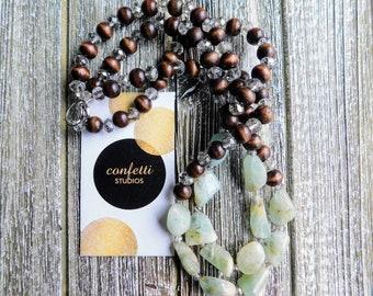 Aquamarine, Wood & Crystal Beaded Necklace