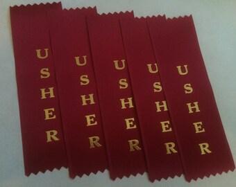 USHER set of 5 ribbons, red 2x6 inch satin