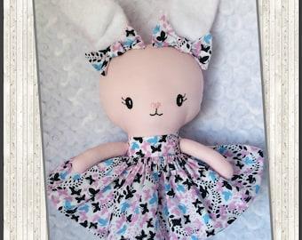 Handmade Rag Doll, Bunny, Fabric Doll READY TO SHIP