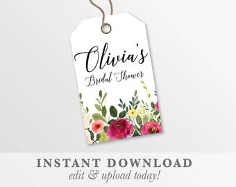 Printable Bridal Shower thank you tags | Baby Shower favor tags | wedding tags | templett instant download | gift tags SPRING