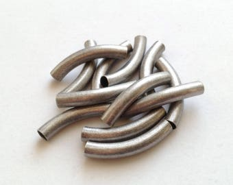 4mm-ID Antique Silver Plated Tubes - Tube Bead -  12 pieces