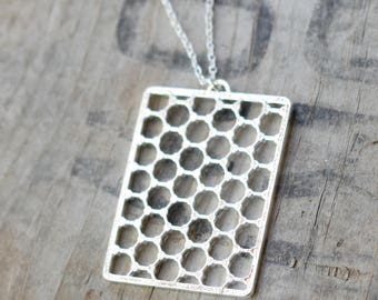 Graphene necklace - Carbon geometry pendant sterling silver plated or 18K gold plated - 43 x 32 mm (3018)