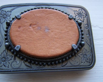 """Vintage 50's """"Rectangle Shape"""" Belt Buckle Oval Amber Color Leatherette Center"""