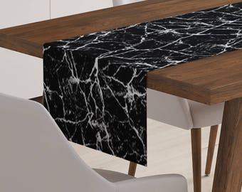 Black Table Runner | Modern Table Runner | Marble Table Runner | Modern Table Linen | Black Table Decor | Modern Table Decoration