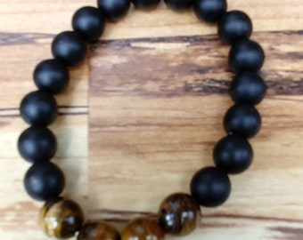 Black Onyx w/ Tiger Eyes Bead Bracelet