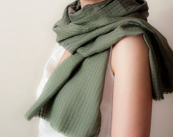 Sage Green Scarf Satin Plaid Scarf Silk Cotton Scarf Classic Tube Scarf Lightweight Scarf Womens Mens Fall Fashion Accessories