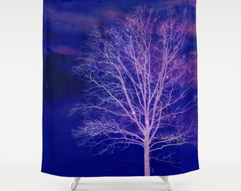 Shower Curtain -  Tree Silhouette, Purple, Sparkle, Twinkle  - Nature Photograpy by RDelean Designs