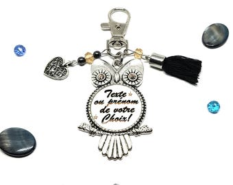 Key ring personalized name or text. Swarovski Hematite and tassel - personalized gift idea