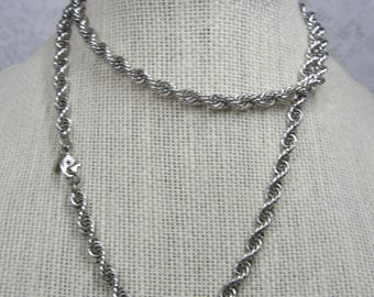 Vintage Monet Long Silver Tone Rope Chain - excellent condition