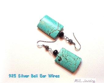 Turquoise Earrings, Big Turquoise Earrings, Turquoise Statement Earrings, E2016-07