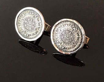 Vintage Sterling Silver Mayan Calendar Cuff Links Eagle #28 Stamped Mexico