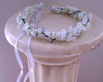 Little girl hair wreath silver white halo flower crown silk babys breath Wedding Bridal accessories children photo prop