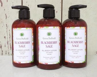Blackberry Sage Soy Hand & Body Lotion - Green Daffodil - VEGAN -SL8
