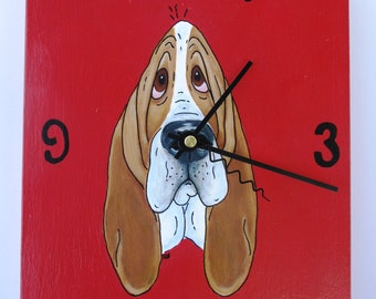 "Hand Painted Basset Hound Clock - ""Good Morning...Let the stress begin!"""