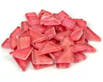 Bubblegum Pink Glitter Mosaic Tile Pieces - Bulk Sparkle Mosaic Tiles - Shimmer Tile Assortment - Vibrant Bright Pink Tiles