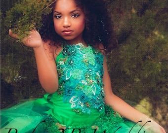 Emerald Dress Woodland Fairy Dress Wedding Dress Flower Girl Dress Party Dress Birthday Dress Toddler Green Tutu Dress Girl Dress