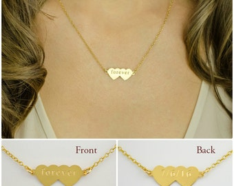 Personalized Gold double heart necklace, sweetheart necklace, Couples initial necklace, Gold Heart Jewelry, Love Necklace, Monogram neckalce