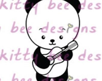 Ukulele Panda Digital Stamp