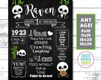 Panda Birthday Chalkboard Sign, Panda Birthday Milestone Poster, Panda Printable Party Decor, Digital File