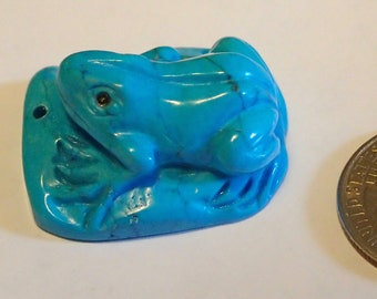 Carved Blue Frog Pendant.