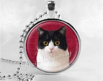 TUXEDO CAT Necklace, Cat Necklace, Cat Pendant, Cat Jewelry, Cat Charm, Glass Photo Art Necklace Pendant, Tuxedo Cat