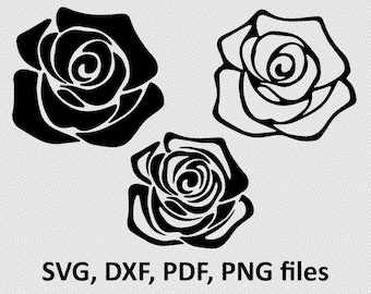 Rose SVG / Rose DXF / Rose Clipart / Rose Files, cutting, DXF, Rose vector, Rose shape, Rose silhouette, flower silhouette, flowers
