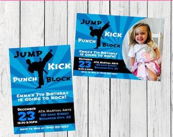 Karate / Martial Arts Personalized birthday invitation- ***Digital File*** (karate-Blue)