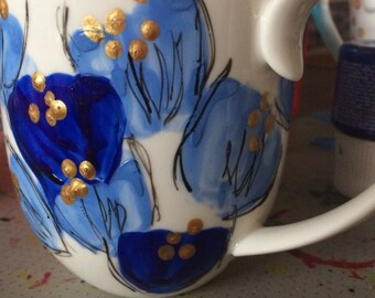 FREE SHIPPING bespoke hand painted coffee mug in blue shades